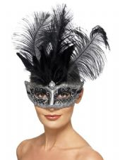 Grey Venetian Eye Mask With Black Feathers